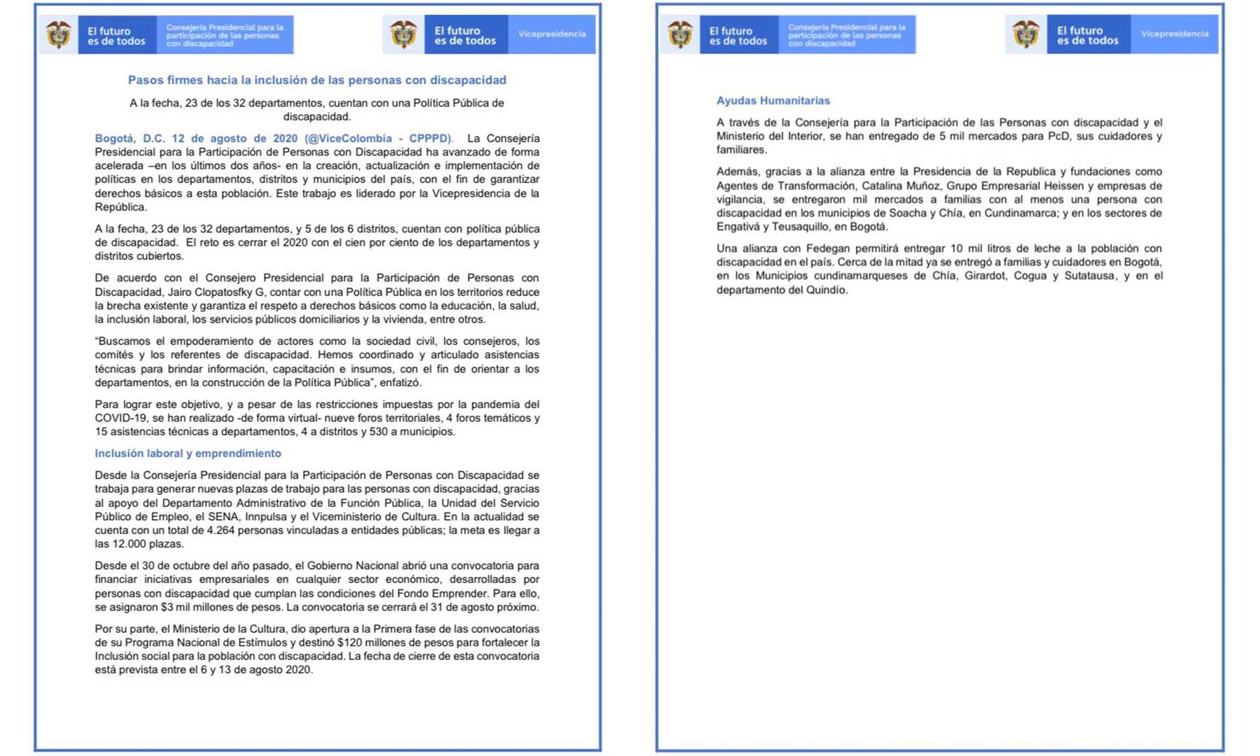 departamentos, política pública, discapacidad, onsejería Presidencial para la Participación de Personas con Discapacidad, Consej