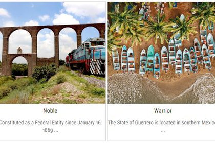 Así aparecen nombrados los estados de Hidalgo y Guerrero en el sitio turístico oficial de VisitMexico. (Foto: captura de pantalla www.visitmexico.com)
