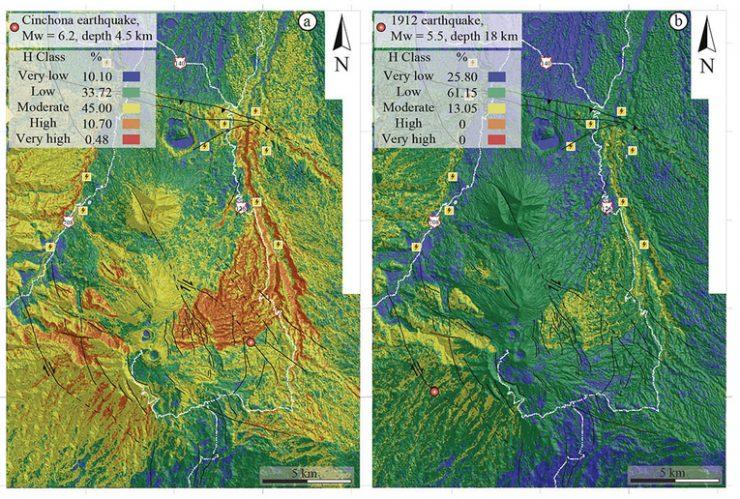 Se muestran dos diferentes escenarios de susceptibilidad a deslizamientos generados por dos …