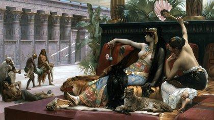 """""""Cleopatra prueba venenos en los prisioneros"""" (1887), de Alexandre Cabanel. Oleo sobre lienzo (165 × 290 cm) en el Museo Real de Bellas Artes de Amberes"""