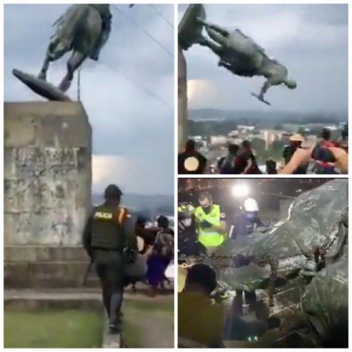 La estatua de Belalcázar no volverá al Morro de Tulcán en Popayán, compromiso del gobierno con los indígenas