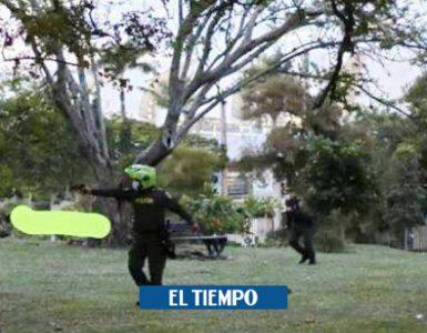 Policía en Cali dice que disparó porque encapuchado le apuntaba - Cali - Colombia