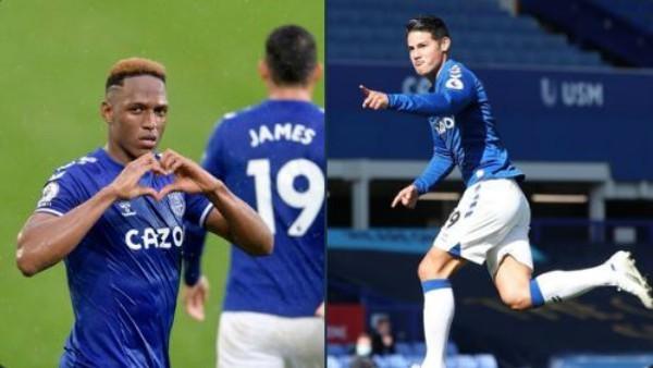 Doblete para James Rodríguez y gol de Yerry Mina en victoria de Everton [VIDEO]