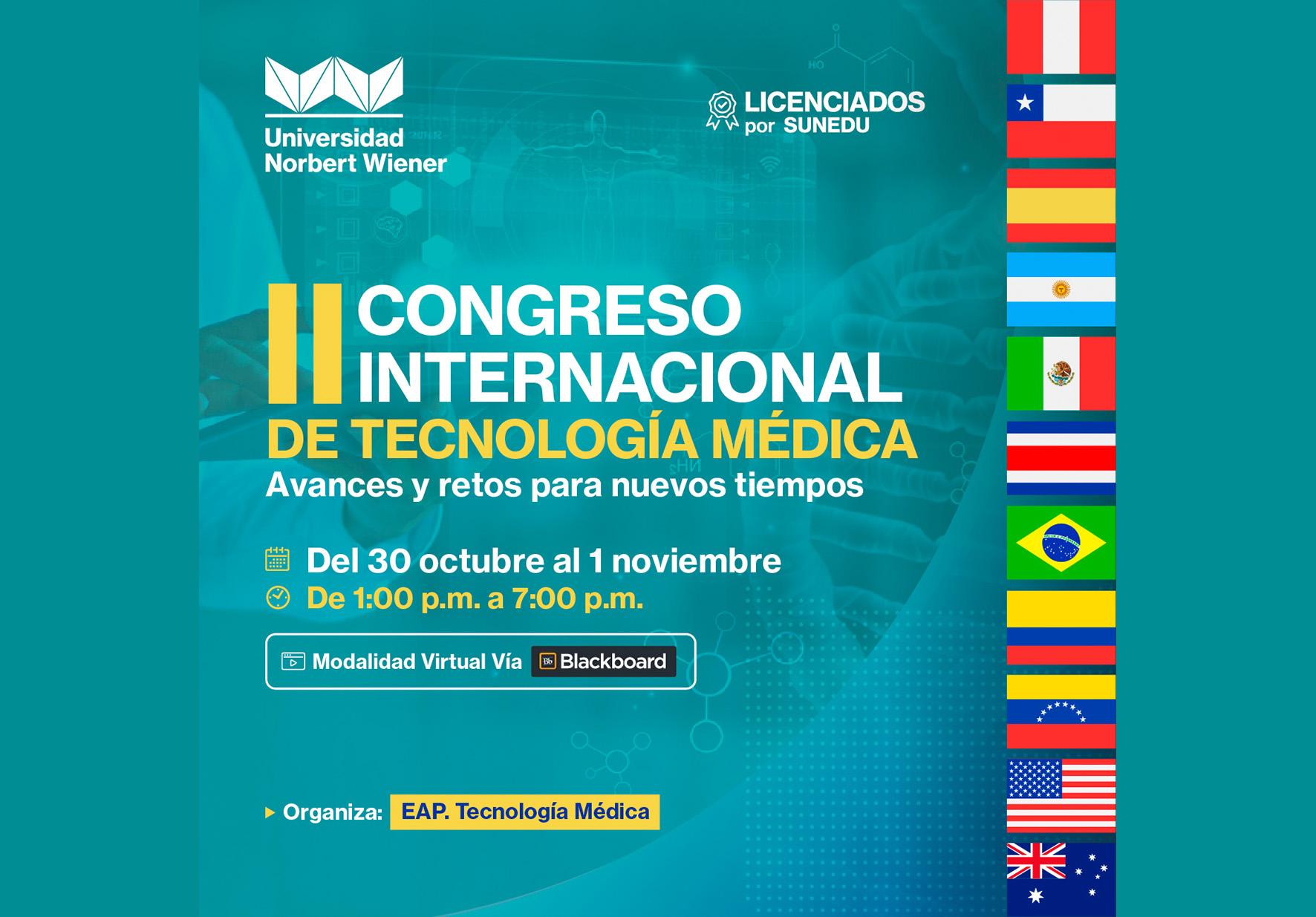 EAP DE TECNOLOGÍA MÉDICA DE LA UNIVERSIDAD NORBERT WIENER REALIZARÁ II CONGRESO INTERNACIONAL: AVANCES Y RETOS PARA NUEVOS TIEMPOS