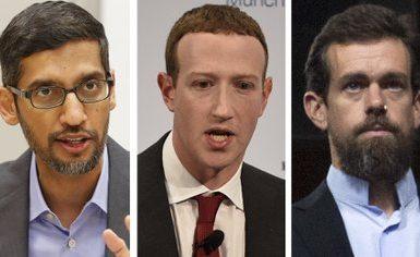 De derecha a izquierda: el de Google Sundar Pichai, el de Facebook Mark Zuckerberg y el CEO de Twitter Jack Dorsey  (AP Photo/Jose Luis Magana, LM Otero, Jens Meyer)