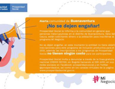 En Buenaventura, personas inescrupulosas solicitan dinero para falsas inscripciones a programas de Prosperidad Social