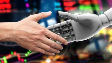 Artificial intelligence (AI) advisor or robo-advisor in stock financial market technology. Shaking hands of male investor and 3d rendering robot. Abstract graph stock exchange background.