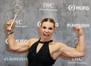 Oksana Masters durante los premios Laureus 2020 en Berlín (Reuters)