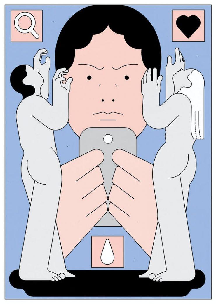 Ilustración de una persona que mira un móvil
