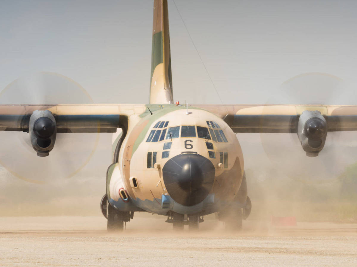 Foto: Un C-130 en Ablitas. (Foto: Ejército del Aire, Ministerio de Defensa de España)
