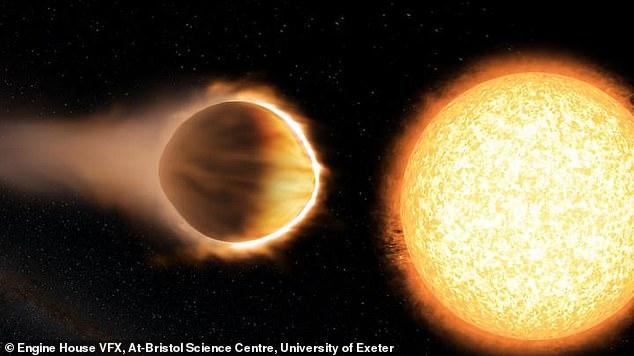 Un estudio sugiere que los exoplanetas cercanos a sus estrellas pueden retener una atmósfera espesa llena de agua.  Arriba, una ilustración de un artista del exoplaneta WASP-121b, que parece tener agua en su atmósfera.