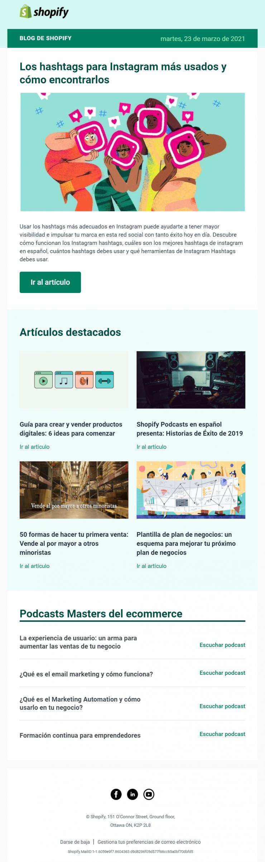 ejemplo newsletter shopify