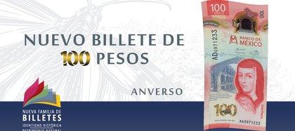 Billete de 100 pesos fue el mejor (Foto: Banco de México)