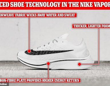 Los corredores sabrán que ponerse un nuevo par de zapatos le hará sentir que puede correr más rápido.  En el caso de las zapatillas Nike Vaporfly 4% (en la foto), sin embargo, el efecto es real.  Los entrenadores introdujeron 'tecnología avanzada de calzado', con una espuma más gruesa y liviana y una placa rígida de fibra de carbono dentro de la entresuela, lo que ayuda a impulsar al usuario hacia adelante con menos energía.