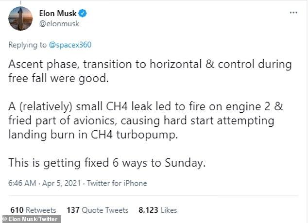 Elon Musk compartió detalles en Twitter diciendo que una fuga de metano (relativamente) pequeña llevó a su desaparición, que fue lo que causó que SN10 explotara semanas antes.