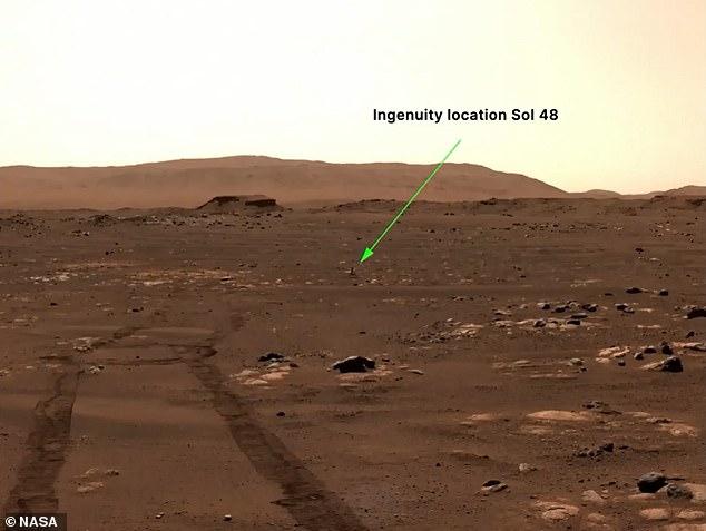 El helicóptero Ingenuity de la NASA intentará su 'momento de los hermanos Wright' en Marte en solo dos días, anunció con orgullo la agencia espacial estadounidense el viernes.  La imagen fue tomada por el rover Perseverance, que transmitirá tareas al helicóptero enviado a Marte por la NASA.
