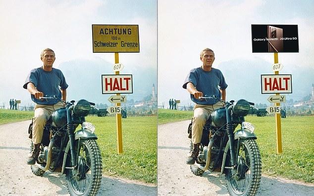 La interpretación de MailOnline de cómo se vería una escena de The Great Escape, protagonizada por Steve McQueen como el Capitán Virgil Hilts, antes y después de que se haya insertado digitalmente un anuncio de un teléfono inteligente Samsung