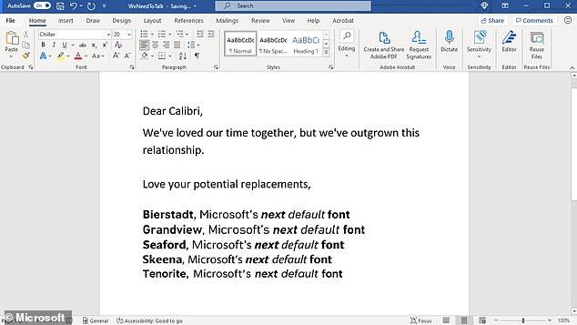 Microsoft ha anunciado que está reemplazando a Calibri con uno de los cinco posibles reemplazos