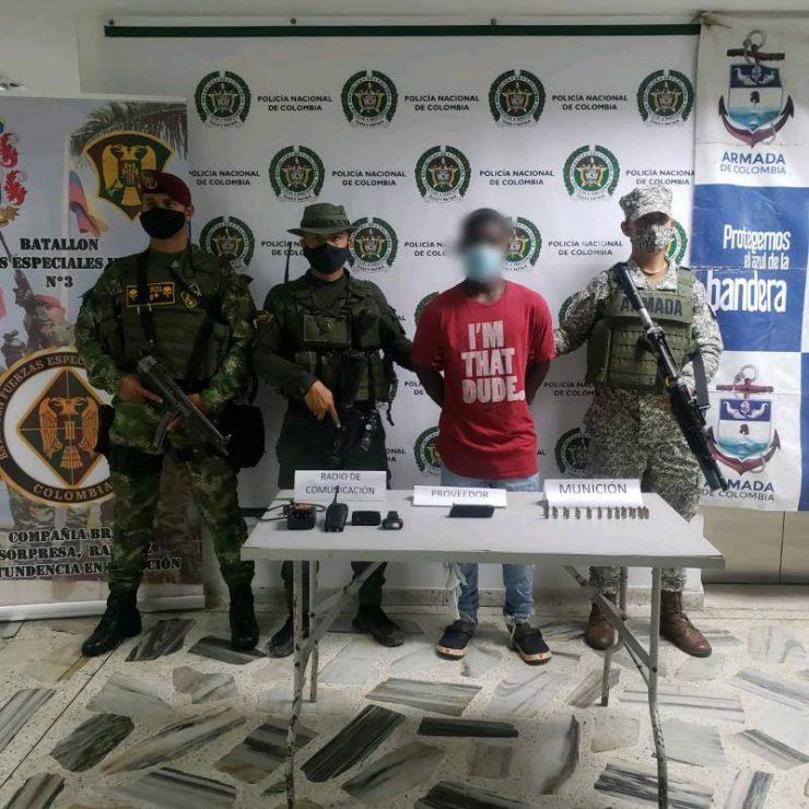 Capturada una persona en Buenaventura por el presunto delito de fabricación, tráfico y porte ilegal de armas o municiones de uso restringido, privativo de las fuerzas armadas