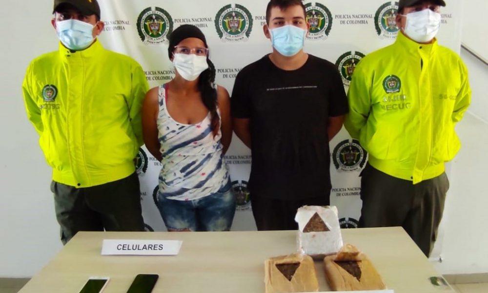 Asegurada pareja que transportaba dos kilos de marihuana en Cúcuta