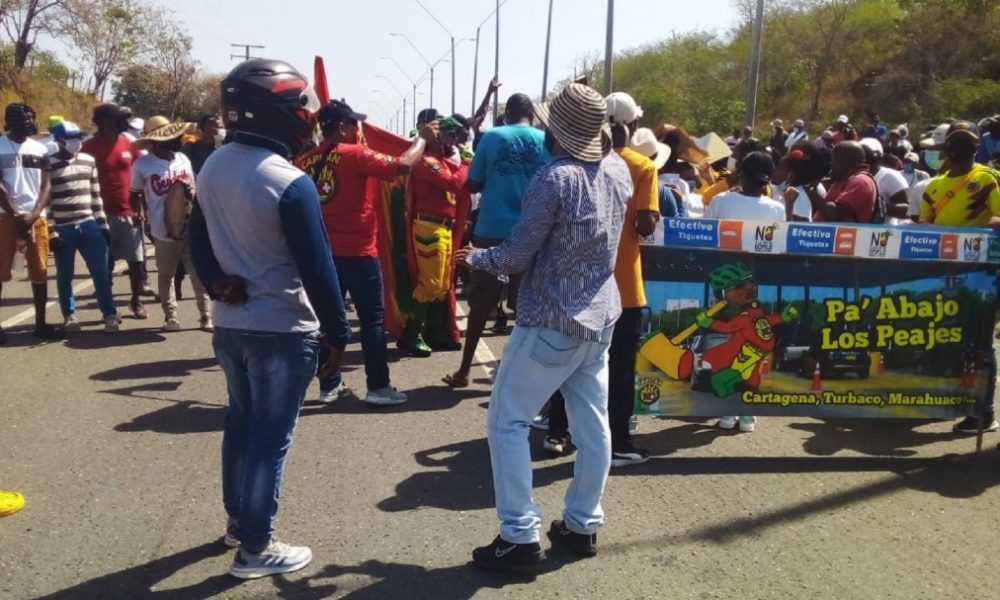 Bloqueada Vía al Mar por protesta de corregimientos de Cartagena