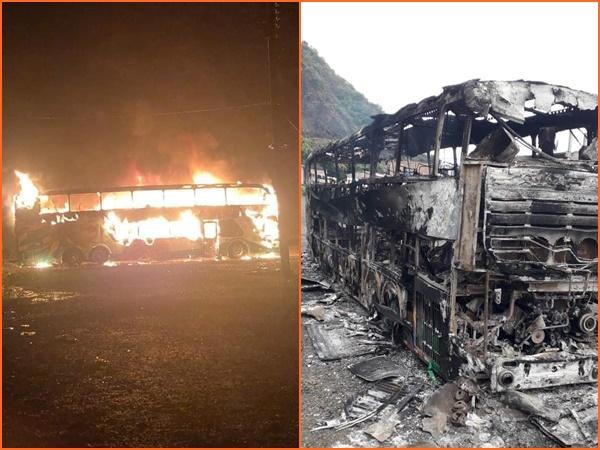 Bus de transporte público fue incinerado en El Tablón Panamericano