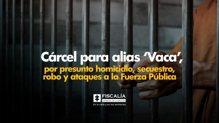 Cárcel para alias 'Vaca', por presunto homicidio, secuestro, robo y ataques a la Fuerza Pública