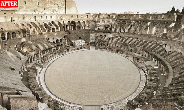 La impresión de un artista de cómo se verá el piso terminado del Coliseo de Roma dentro de dos años