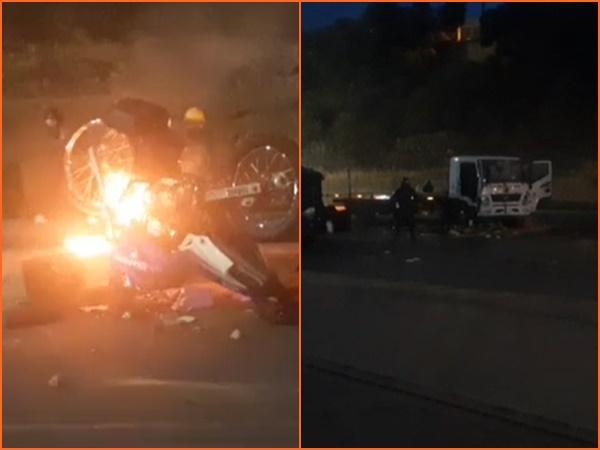En medio de protestas incendiaron moto y grúa del Tránsito en Pasto