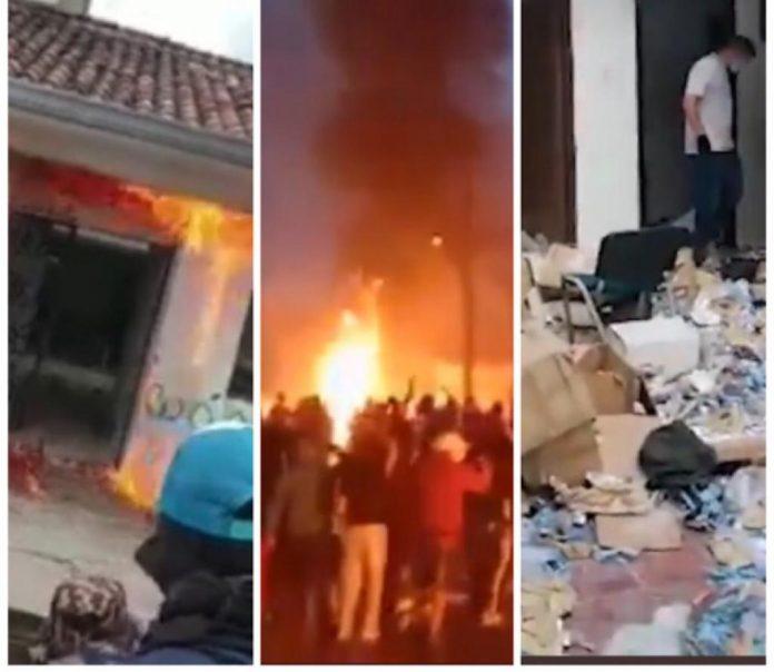 Evidencias, armas y hasta fúsiles e incluso sacos con drogas, se perdieron de la URI quemada en Popayán