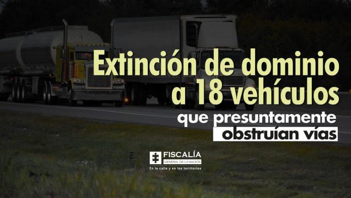 Extinción de dominio a 18 vehículos que presuntamente obstruían vías