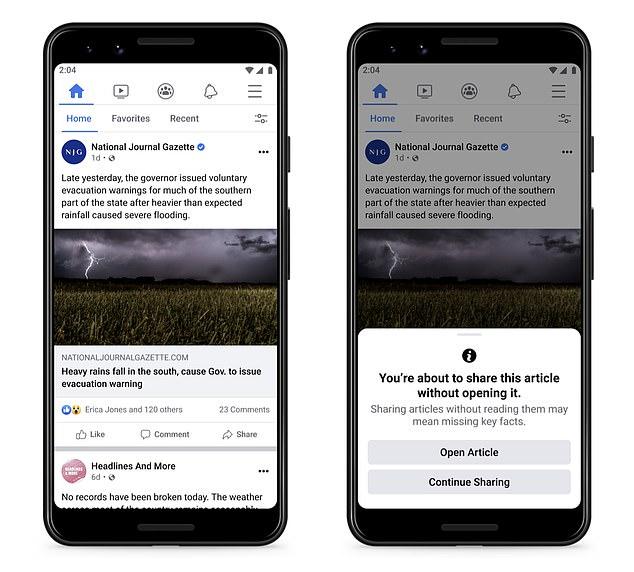 Facebook está probando una nueva ventana emergente que pregunta a los usuarios si han LEÍDO un artículo antes de compartirlo.