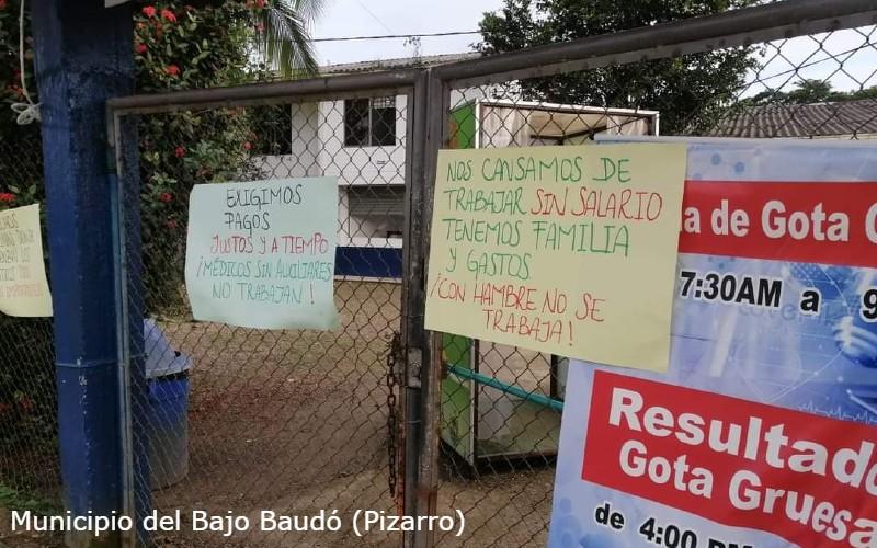 Funcionarios de la IPS – FUNSOBA en los 3 municipios de la Subregión del Baudó, se declaran en anormalidad laboral por falta de pago de sus salarios.