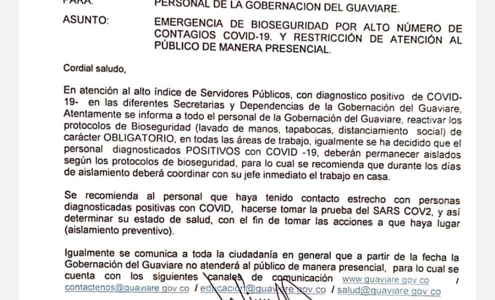 Gobernación del Guaviare cerró los servicios de atención al público por el alto contagio de Covid-19.