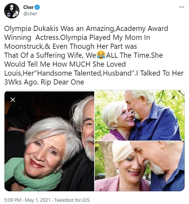 Cher ha dirigido los homenajes a su coprotagonista de Moonstruck, Olympia Dukakis, quien murió en la ciudad de Nueva York el sábado a los 89 años.