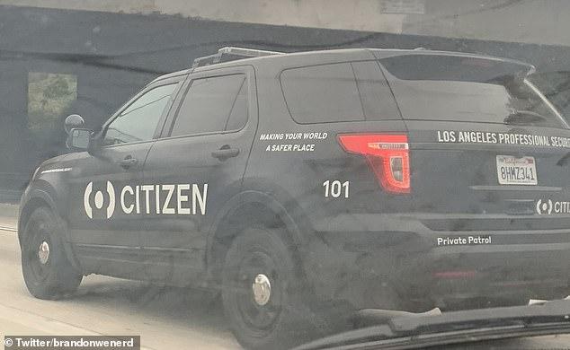 En los últimos días, se ha visto un misterioso coche de `` patrulla privada '' con la marca Citizen merodeando por Los Ángeles.  La compañía dice que está poniendo a prueba una fuerza de seguridad privada para responder a las solicitudes de los usuarios.