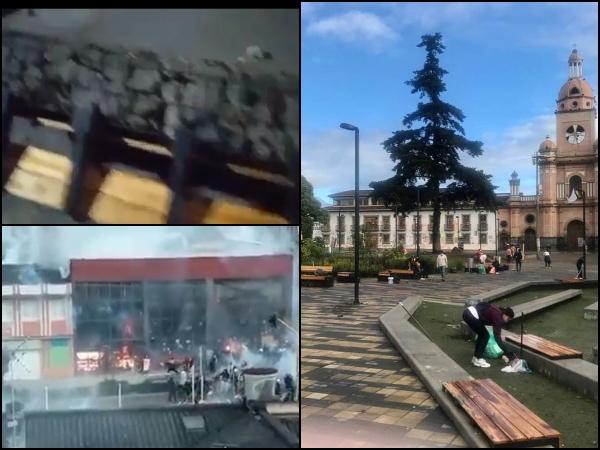 Mientras que ayer hubo disturbios y destrucción, hoy varias personas se unieron a limpiar el Parque Rumipamba