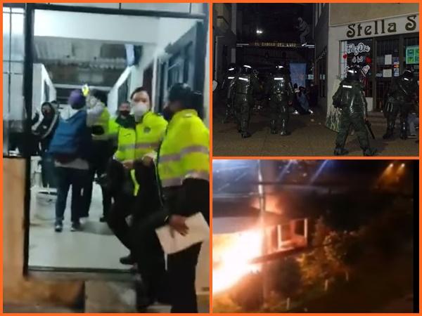 Noche de tensión en Pasto: varios retenidos, dos CAI´s incendiados y algunos heridos en manifestaciones