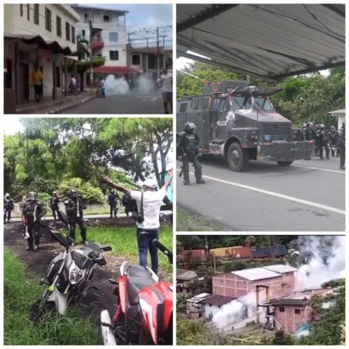"""Reclamos al Esmad: """"No se metan a los barrios"""", gases y aturdidoras en La Paila y otras zonas del Valle del Cauca"""