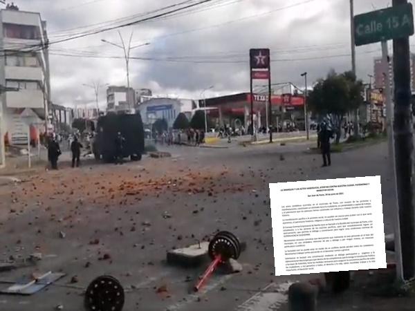 """""""Actos vandálicos, atentan no solo contra nuestra ciudad, sino con el patrimonio y el bienestar"""", empresarios de Nariño"""