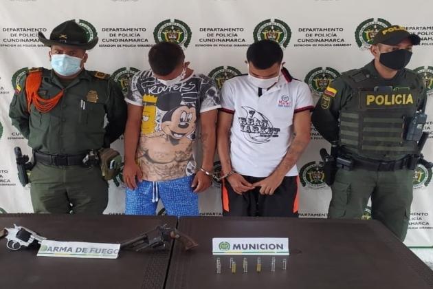 Capturados con armas de fuego en Girardot, Cundinamarca