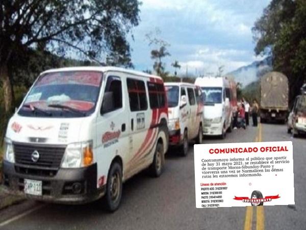 Cootransmayo reactivó el servicio de transporte entre Pasto y Mocoa