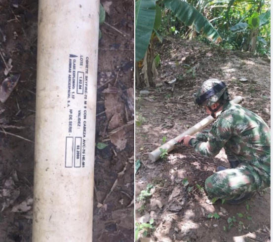 En Arauca, Ejército Nacional halla cohete utilizado en aviones de combate de la Aviación Militar Bolivariana