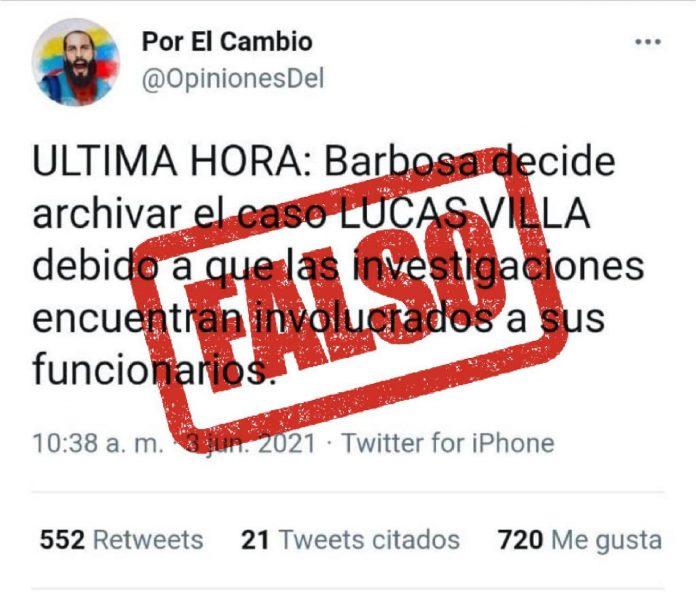Es falso que la Fiscalía haya archivado la investigación de Lucas Villa