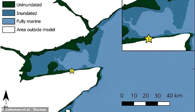 Investigadores de la Universidad de Sheffield analizaron y fecharon los depósitos de suelo que dejó el antiguo tsunami para modelar el impacto de la ola en la costa escocesa.  En la imagen: el modelo de la cuenca de Montrose que muestra la extensión de la inundación de la costa por la ola (en azul más oscuro)
