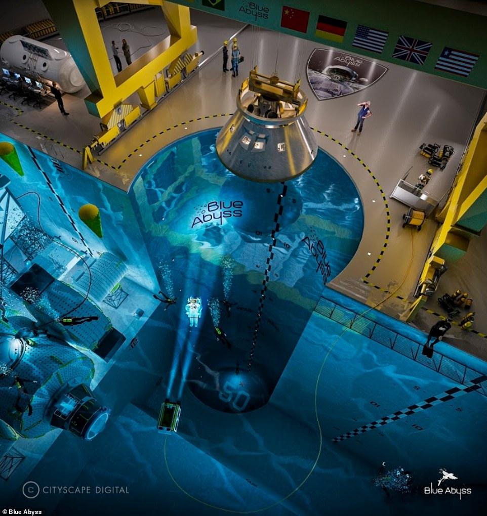 El grupo Blue Abyss actuará como un centro de investigación, pruebas y capacitación al servicio de los sectores de energía, marina, defensa y espacio en alta mar.  Imagen conceptual publicada por Blue Abyss