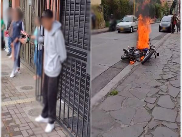 Otro caso de justicia por mano propia en Pasto: iba a robar y le quemaron la moto