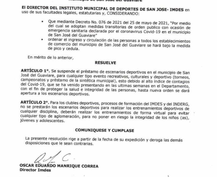 Suspenden préstamos de escenarios deportivos en San José del Guaviare