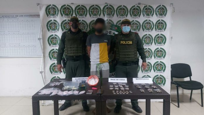 policía nacional captura a un hombre con toda una variedad de estupefacientes en Arauca
