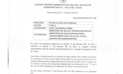 A través de una tutela se suspende de manera provisional el regreso a clases presenciales en Buenaventura – Noticias Al Punto Buenaventura